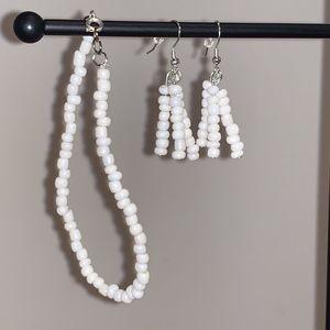 Classy White Beaded Jewelry Set